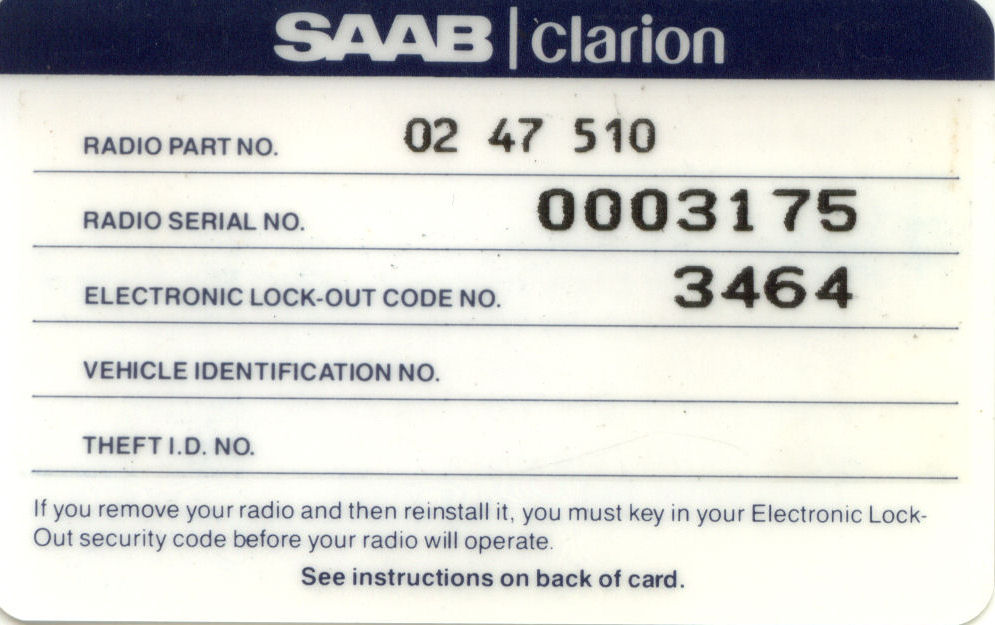 Radio Card Front MY92